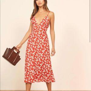 Reformation Montague red floral midi dress NWOT